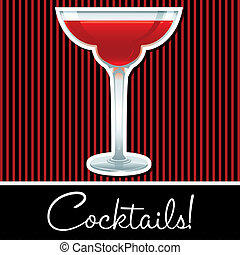 Cocktail! - Red retro cocktail card in vector format.
