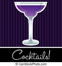 Cocktail! - Purple retro cocktail card in vector format.