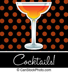 Cocktail! - Orange retro cocktail card in vector format.