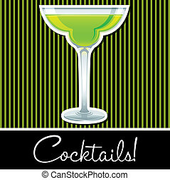 Cocktail! - Lime retro cocktail card in vector format.
