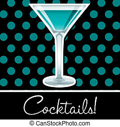 Cocktail! - Aqua retro cocktail card in vector format.