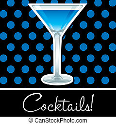 Cocktail! - Blue retro cocktail card in vector format.