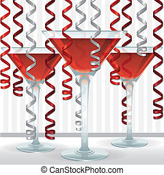 Cocktail Ribbon Card - Bright cocktail and ribbon card in...