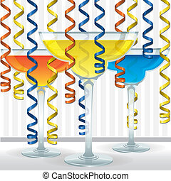 Cocktail Card - Bright cocktail and ribbon card in vector...