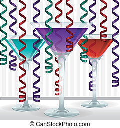 Cocktail - Bright cocktail and ribbon card in vector format.