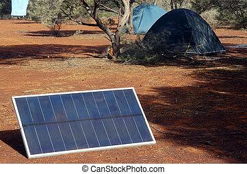 Solar panel in the Australian bush for the refill of the...