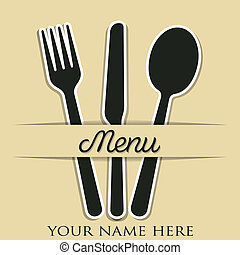 Menu - Cutlery theme checkered paper cut out menu in vector...