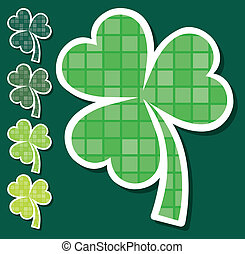 Happy St. Patrick's Day - Striped shamrock stickers in...