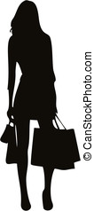 shopping girl silhouette - Happy shopping girl silhouette...