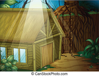A house in the woods - Illustration of a house in the woods