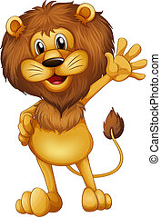 A lion waving - Illustration of a lion waving his hands