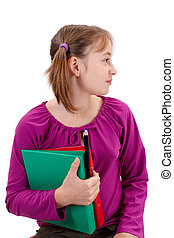 Teenager pigtailed girl with maps and pencils - Teenager...