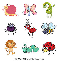 Colorful creatures - Illustration of colorful creatures on a...