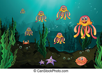 Underwater creatures - Illustration of the different...
