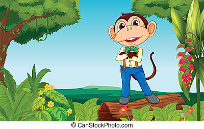 A monkey in the middle of the jungle