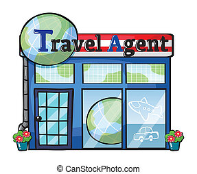 A travel agent office - Illustration of a travel agent...