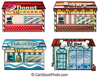 A donut store, bakery, fish and chips store and a pet shop -...