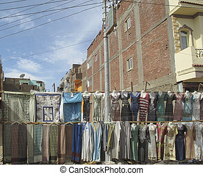 Clothes Market in Egypt - Colorful shirts and more at a...