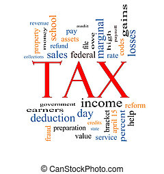 Tax Word Cloud Concept with great terms such as rate,...