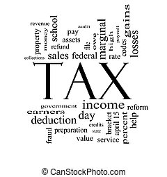 Tax Word Cloud Concept in Black and White with great terms...