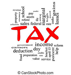 Tax Word Cloud Concept in Red Caps
