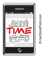 Time Word Cloud Concept on Touchscreen Phone