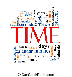 Time Word Cloud Concept with great terms such as day, hours,...