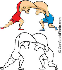 two wrestlers in the clinch - greco-roman style or freestyle...
