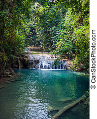 Waterfall in the rainforest. Erawan National Park in...