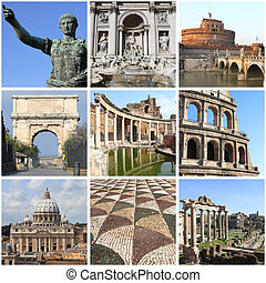 Rome landmarks collage - Collage of landmarks of Rome, Italy