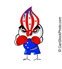 Boxing bird - Patriotic boxing bird in USA national flag...