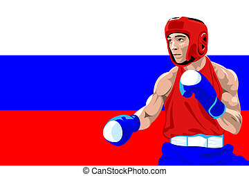 Russia boxing - Amateur boxer in protective uniform posing...