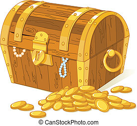 Treasure chest and pile of gold
