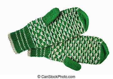 The bicoloured woolen mittens - The mittens of green and...