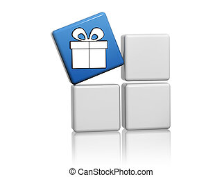 blue cube with gift sign