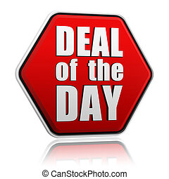 deal of the day red hexagon - deal of the day - text in 3d...