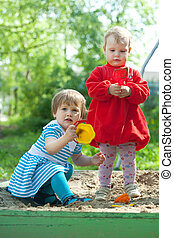 gilrs playing in sandbox - two baby gilrs playing in sandbox...