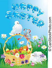 Greeting card with doves, spring flowers, basket and easter...