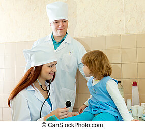 Doctors working with child