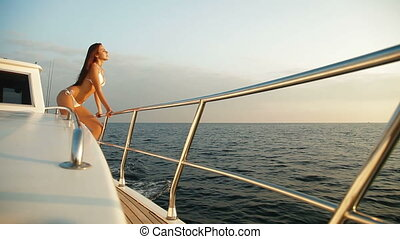 Woman Enjoying Yacht Vacation