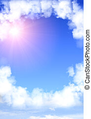 Frame from white clouds - Blue sky with a frame from white...