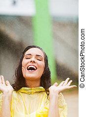 楽しみ, 女, 若い, 雨, 持つこと