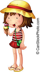 A child eating an ice cream - Illustration of a child eating...