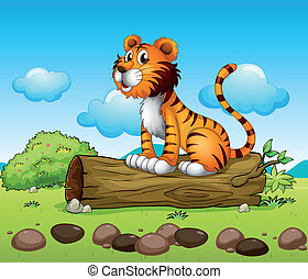A tiger relaxing - Illustration of a tiger relaxing above a...
