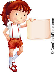 A child showing a piece of paper - Illustration of a child...