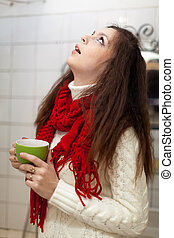 Sick woman gargling throat