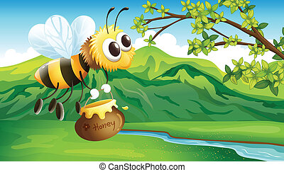 A bee bringing a honey - Illustration of a bee bringing a...