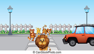 Wild animals crossing and a car in the road - Illustration...