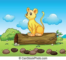 A little lion above a log - Illustration of a little lion...