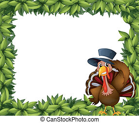 A turkey and the leafy frame - Illustration of a turkey and...